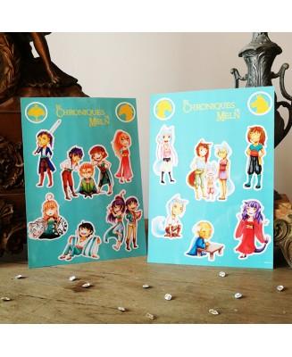 """Planche de Stickers """"Les Chroniques de Meln"""""""